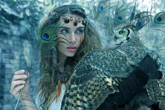 owl and a woman with peacock feather